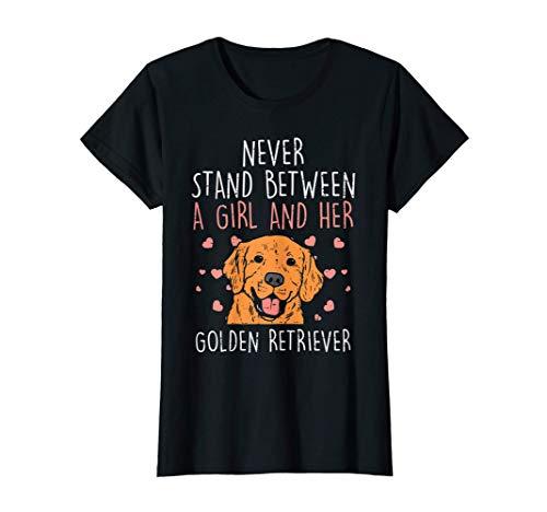 ネバースタンドガールとゴールデンレトリバー犬の恋人女性ギフト Tシャツ