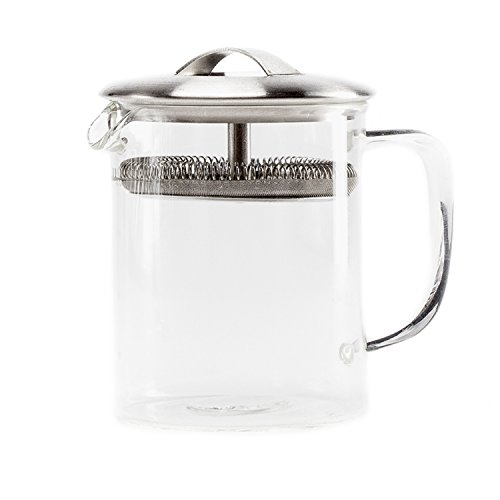 P & T Cylinder Pot, Hitzebeständige Borosilikatglas Teekanne, modernes Design, heiß und kalt gebrühten Tee, klein (400 ml / 13.5oz)