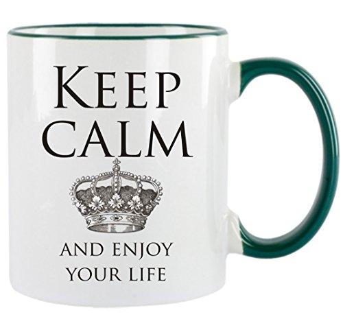 Creativ Deluxe Keep Calm and Enjoy Your Life Kaffeetasse mit Motiv, Bedruckte Tasse mit Sprüchen oder Bildern - auch individuelle Gestaltung nach Kundenwunsch