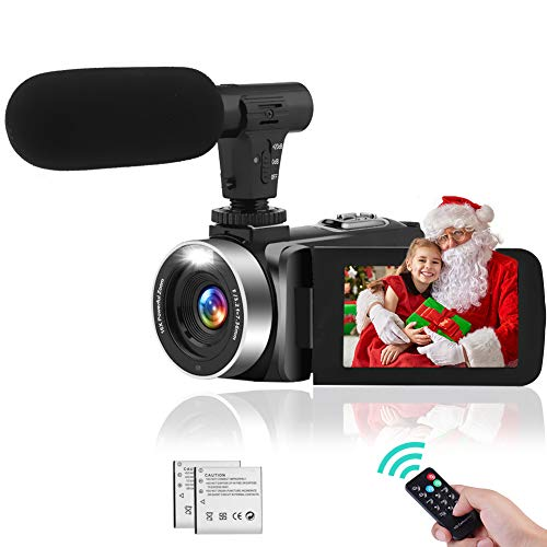 Videocámara Videocamara con IR Night Vision, FHD 1080P 30FPS Youtube Vlogging Camera 16X Zoom Digital Camara De Video con Micrófono y 2 Baterías Recargables