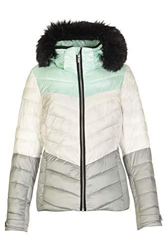 killtec Skijacke Damen Brinley - Winterjacke Damen - Damenjacke sportlich mit Skipasstasche - warme Jacke für den Winter - wasserdicht, Offwhite, 38