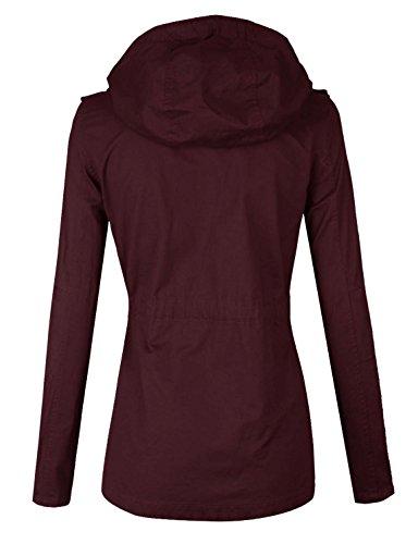 makeitmint Women's Zip Up Military Anorak Jacket w/ Hood [S-3XL] Large YJH0018_BURGUNDY