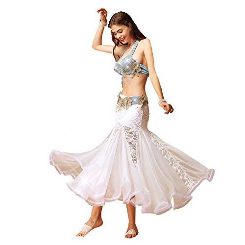 ChengBeautiful Vestido de danza del vientre, falda de danza del vientre, disfraz de danza del vientre, 3 tamaos, brillante, traje de 3 colores para mujer (color: blanco, talla: L)