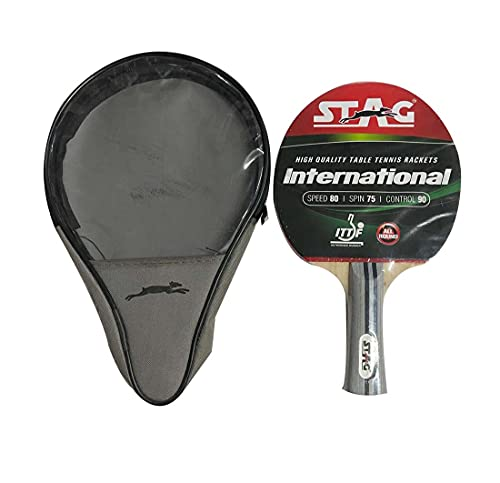 Stag International Table Tennis Racquet without case | 180 grams | Intermediate | ITTF Approved Rubber | Multi- Color