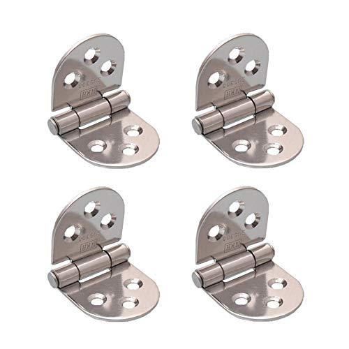 MuMa - Bisagras plegables con tapa abatible, 4 piezas de acero inoxidable con acabado cromado, 180 grados plegable, acero inoxidable, Plateado, 3 pulgadas