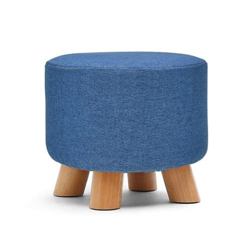 QLWY Taburete bajo, Taburete de Tapizado en Esponja con 4 Patas de Madera Maciza, Taburete de sofá, Suave y cómodo, Fuerte y Duradero para la Sala (Blue,Round)
