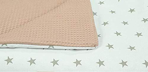 MoMika Bettwäsche Kinderbettwäsche Bettset 2-teilig Kissenbezug und Bettbezug. Oberstoff Waffelpique 100% Baumwolle. Passend für Kinderbetten 70x140 cm (Light Brown-Star)
