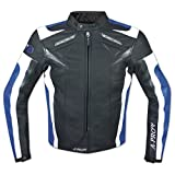 Blouson Cuir Motard Moto Sport CE Protections Vachette Gilet Thermique bleu M