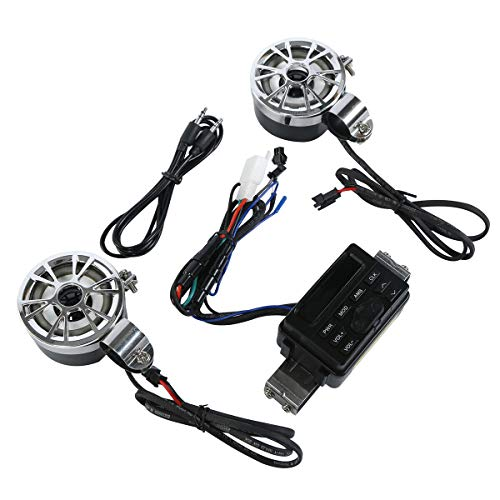 Green-L Bluetooth ATV Bike Audio System Handlebar FM Radio Stereo MP3 Speakers Fit for Universal Motorcycle
