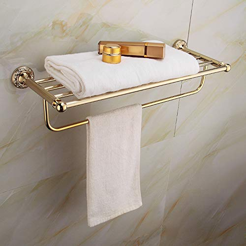 LUXYSOWAMME - Accesorios de baño para montaje en pared, color dorado envejecido pulido, perchero toallero de latón