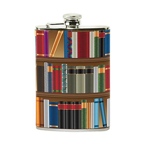 Tizorax Bibliothèque étagères avec de vieux livres en acier inoxydable Flasque, poche Pichet, le camping, Pot de vin, cadeau pour homme ou femme, 226,8gram