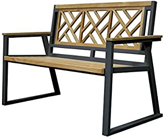 Asta Furniture M2-11D/Blk Asta California Room Teak and Iron 2-Seater Bench - Chippendale (Black)