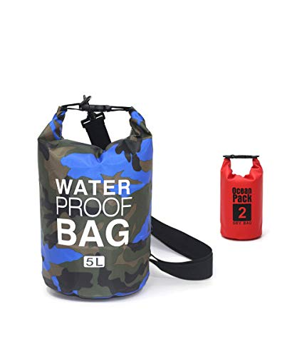 Bolsa impermeável Bycc Bynn camuflada 5L/ 10L/ 15L 20L/ 30L, saco de compressão seca que mantém o equipamento seco para caiaque, barco, rafting, pesca e acampamento com 2L pequena bolsa impermeável (azul, 20L)