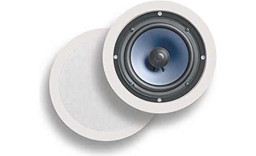 Polk Audio RC60i 2-way Premium In-Ceiling 6.5 Round Speakers, Set of 2, Damp and Humid Indoor/Outdoor Placement - Bath, Kitchen, Covered Porches (White, Paintable Grille) (Renewed)