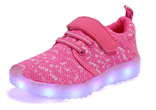 adituob Kinder LED Schuhe Damen Herren Leuchten Sportschuhe Unisex USB Lade Outdoor Leichtathletik Paare Schuhe Rosa37