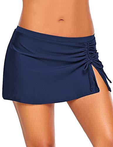 Roskiky Hüfthohe Damen Bikini-Hose mit Rock, Seitenschlitz und Kordelzug Marineblau Größe XL