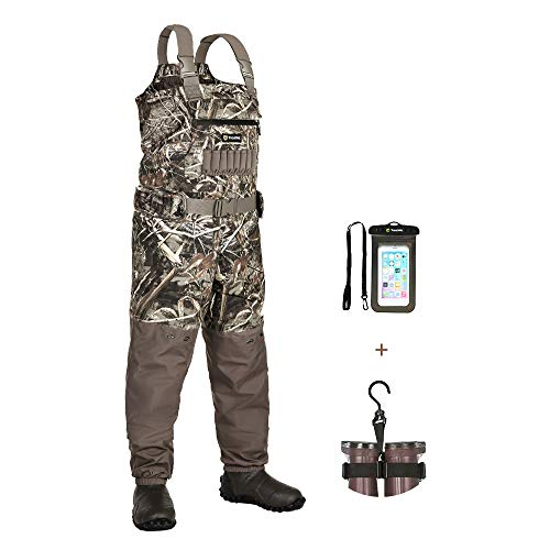 TIDEWE Breathable Insulated Chest Wader with Boot Hanger, 1200G Insulation Waterproof Bootfoot Hunting Wader with Steel Shank Boots, 120 Insulated Liner Realtree Max 5 Camo Fishing Wader (Size 14)