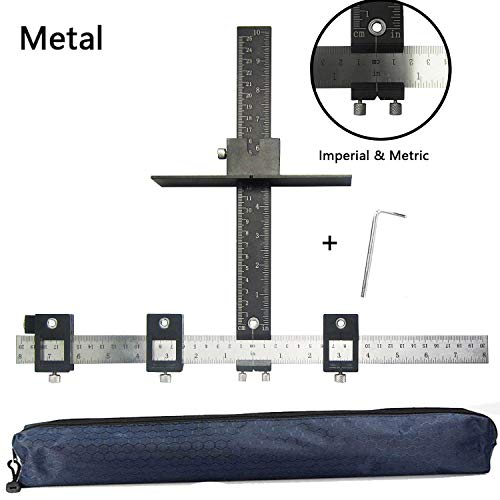 Cabinet Hardware Jig Aluminum Alloy Cabinet Drawer Drilling Template Jig Punch Locator Drill Guide Cabinet Handle Template Tool Door Handle Knob Punch Locator for Easy Installation