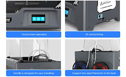 FlashForge 3D Printer Creator Pro2, Independent Dual Extruder W/2 Spools, Metal Frame Structure, Acrylic Covers, Optimized Build Platform, Works with ABS and PLA
