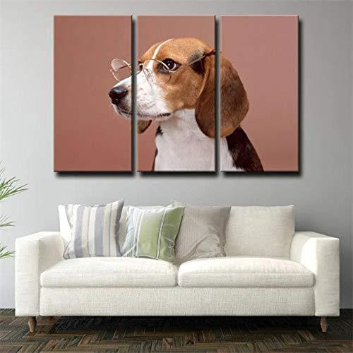 Cuadros Modernos 3 Piezas Cuadro En Lienzo Gafas para Perro Retrato Marrón XXL Artística Digitalizada Decoración para El Arte De La Pared del Hogar 3 Piezas Pared Pinturalisto para Colgar
