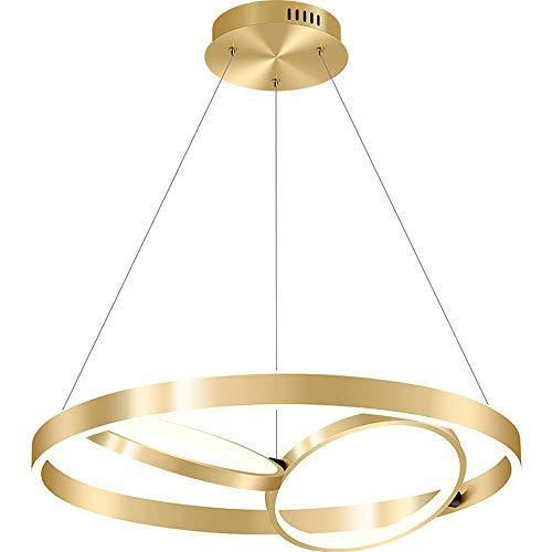 57W anillo Colgante Luz LED Diámetro regulable Diámetro regulable 24.4 pulgadas Fijo de oro 3 Anillos Acrílico Colgante Lámpara Moderna Minimalista Iluminación de araña Adecuado para Chalet Sala de es