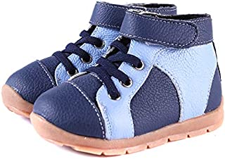 SandQ baby Boys Blue + Navy Leather Boots
