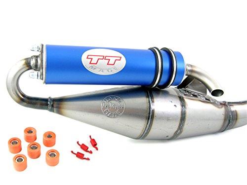 Leovince TT blau, Tuning Sport Auspuff kompatibel mit Piaggio NRG Power 50, NRG mc2, NRG mc3, NRG extreme