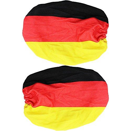 com-four 2X Außenspiegel Fahne - Fanartikel Deutschland - Außenspiegel-Überzug für Fußball EM und WM - Überzug für Autospiegel (2 Stück)
