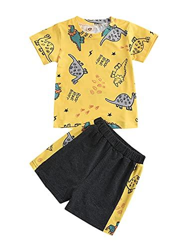 2 Juegos de Camisetas Cuello Redondo con Estampado Dinosaurio Manga Corta Informal para niños+Pantalones Cortos Suaves Pijamas bebé 1-5 años (Amarillo, 2-3 Años)