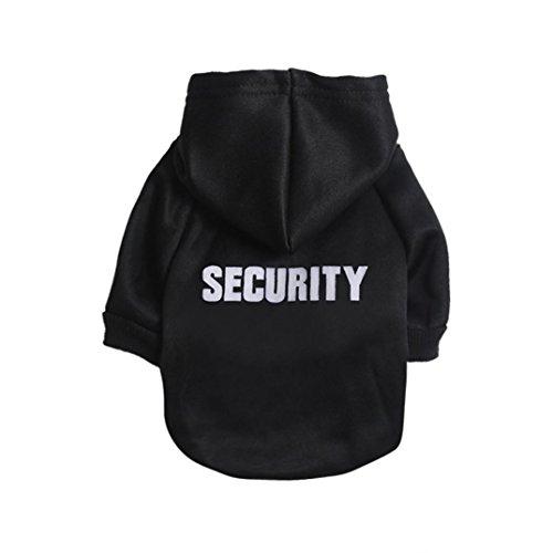 """Angelof Vetement Chien/Chat Sweat A Capuche Chien Veste Petit Chihuahua Manteau T-Shirt Habillement 2 Pattes pour Chien Habits Chiot Imprimé """"Security"""" (S, Noir)"""