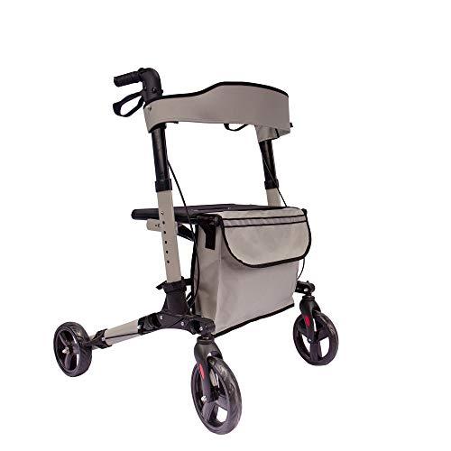 Arebos Leichtgewicht Rollator | Aluminium | 6-fach höhenverstellbar | bequeme Sitzfläche | Stockhalter |abnehmbare Einkaufstasche | zusammenklappbar | sofort einsatzbereit (Grau)