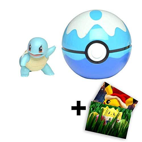Lively Moments Pokemon - Pokeball Clip ´N´ GO für unterwegs Pokemonfigur - Schiggy im Tauchball + GRATIS Grußkarte