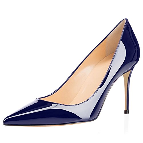 Eldof Women's High Heel Pumps Classic 3.2in Patent Pointed Toe Stilettos 8cm Wedding Party Dress Pumps Navy US10