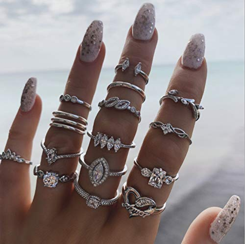 DDboy 15PCS Silver Ring Set Vintage Crystal Rings Boho Rhinestone Joint Knuckle Finger Rings Stylish Hand Accessories Jewelry for Women and Girls (Pack of 15)