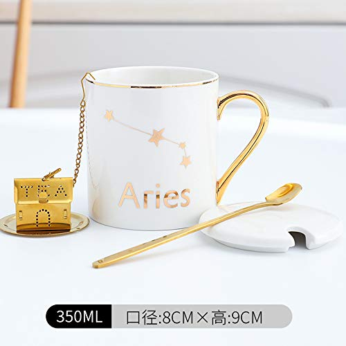 Xiaobing Taza de cerámica de 12 Constelaciones, Taza de Lujo Ligera con Tapa, Cuchara, Taza de café para Parejas de Oficina, colador de té Blanco Aries