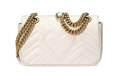 Women's chain shoulder messenger bag handbag white leather shiny