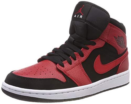Nike Air Jordan 1 Mid, Zapatos de Baloncesto Hombre, Negro (Black/Gym Red/White 054), 44.5 EU