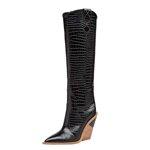 Themost Womens Miami Over The Knee High Boots Cowboy Western Thigh High Boot Wedge Heel Cowgirl Combat Booties Pull On Work Shoes Black, 10