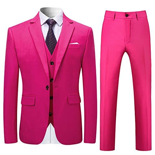 Allthemen Allthemen Herren Slim Fit 3 Teilig Anzug Modern Sakko für Business Hochzeit Party Rosa XXX-Large