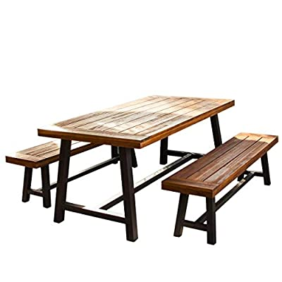 Christopher Knight Home 298403 Bowman Wood Outdoor Picnic Table Set | Perfect for Dining, Brown + Black Rustic Metal