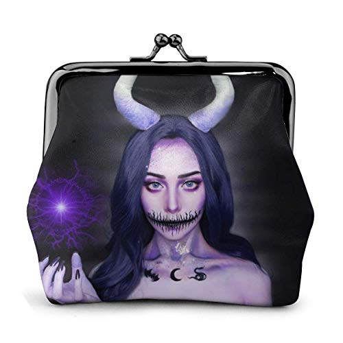 Trista Bauer Halloween Purple Horned Witch Black Themed Vintage Pouch Girl Kiss-Lock Monedero Monedero Monederos Hebilla Monederos de Cuero Llave Mujer Impreso Novedad Mini