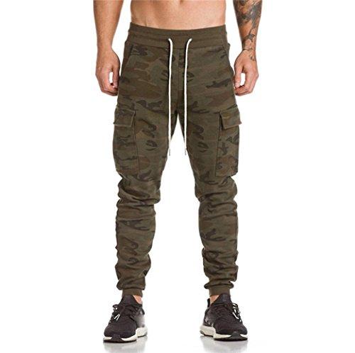 Internet Homme Sexy Pantalon de Sport en Polyester Casual Baggy Pantalon de Jogging Fitness Loose Crotch Poches Pantalon de Survêtement Elastique Gym Fitness Sweatpants Drawstring (M, Camouflage)