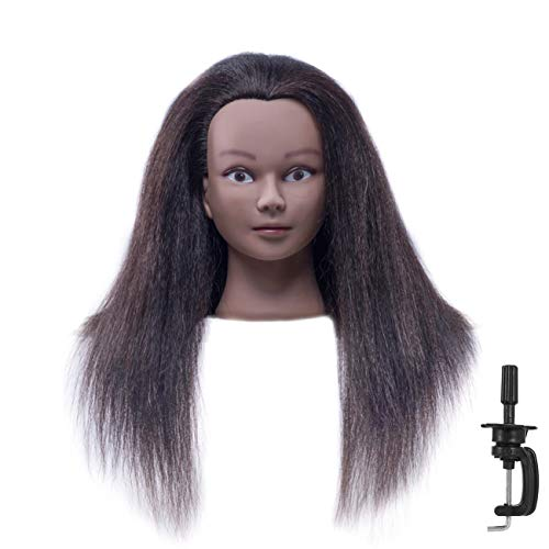 "CZFY African American Mannequin Head with 100% Real Hair and Adjustable Stand 20-22"" for Braiding Hair Styling Training Hairart Barber Hairdressing Fashion Salon Display Black"