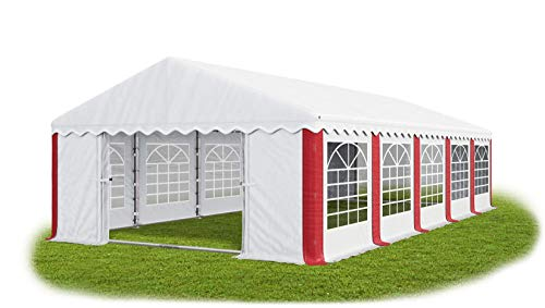 Das Company Partyzelt 5x10m wasserdicht weiß-rot mit Bodenrahmen Zelt 240g/m² PE Plane hochwertig Gartenzelt Summer Floor PE
