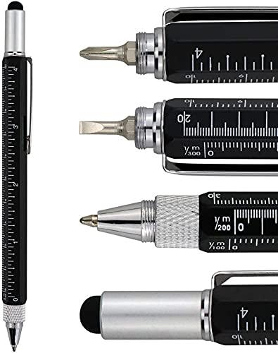 Bolígrafo multifunción 6 en 1 de aluminio con destornillador, lápiz, nivel de burbuja, regla y Phillips Flathead Bit, gran regalo para hombre y mujer