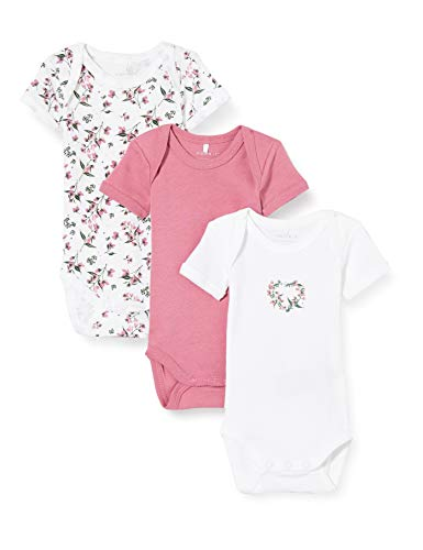 NAME IT Nbfbody 3p SS Heather Rose Flower Noos Pelele, Brezo Rosa, 50 para Bebés