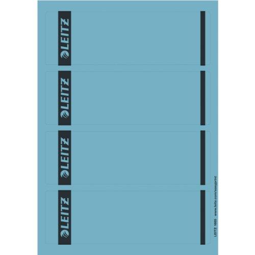Leitz PC-beschriftbare Rückenschilder selbstklebend für Standard- und Hartpappe-Ordner, 100 Stück, Kurzes und breites Format, 62 x 192 mm, Papier, blau, 16852035