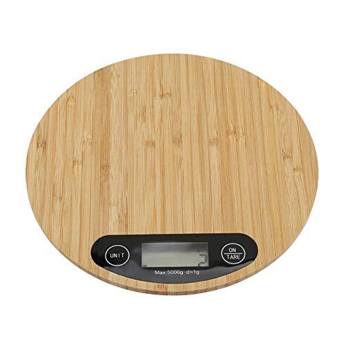 Cocina eléctrica de bambú redonda con pantalla LED de balanza para cocinar alimentos 5 kg/1 g