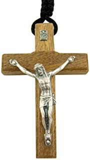 Religious Gifts Jesus Christ Crucifix 2 3/4 Inch Wood Cross Pendant on 24 Inch Black Cord Chain