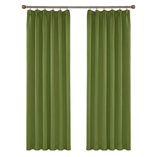 Amazon Brand - Umi Cortinas Térmicas Aislantes Frio y Calor para Dormitorio Matrimonio Salón Hotel Fruncido 2 Piezas 132x214cm Verde